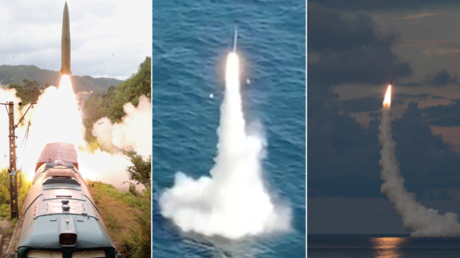 A collage of missile tests conducted by North Korea (L), South Korea (C) and the United States (R) over the past week