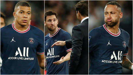 Mauricio Pochettino (center, right) needs to gel a side containing Kylian Mbappe (left), Lionel Messi (center, left) and Neymar © Benoit Tessier / Reuters