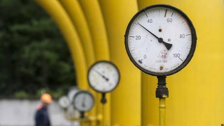 Pressure gauges, pipes and valves at Dashava underground gas storage facility near Striy, Ukraine, May 28, 2015.