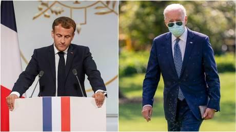 French President Emmanuel Macron (left) and US President Joe Biden, September 20, 2021.