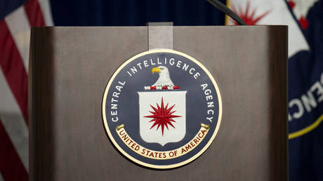 A lectern with a CIA logo at the agency's headquarters in Langley. © AFP / Jim Watson
