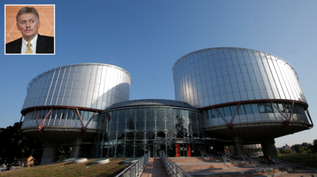 The building of the European Court of Human Rights. © Reuters / VINCENT KESSLER; (inset) press secretary of the President of the Russian Federation Dmitry Peskov. © RIA / Sergey Guneev