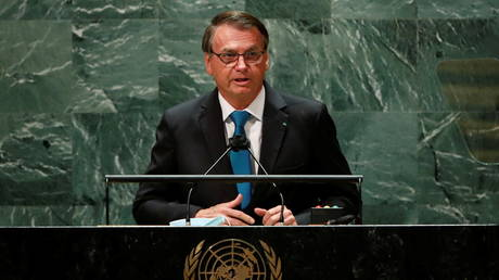 Brazilian President Jair Bolsonaro is shown speaking at the UN General Assembly on Tuesday in New York.