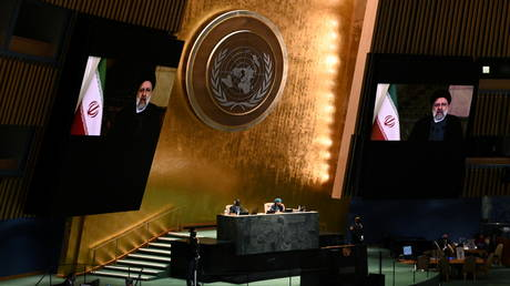 Iranian President Ebrahim Raisi speaks remotely during the 76th Session of the General Assembly at the UN Headquarters in New York, September 21, 2021.