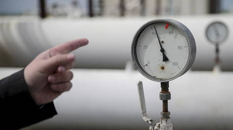 Pressure gauges and gas pipes at a gas-measuring station near Uzhhorod, Ukraine, May 27, 2015.