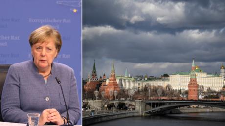 (L) Germany's Chancellor Angela Merkel. © AFP / LUDOVIC MARIN; (R) Moscow's Kremlin. © AFP / ALEXANDER NEMENOV