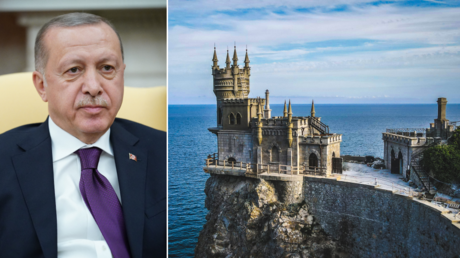 (L) Turkey's President Recep Tayyip Erdoğan. © AFP / MANDEL NGAN; (R) Swallow's Nest, Crimea. © Unsplash / Dmitry Bogatyrev