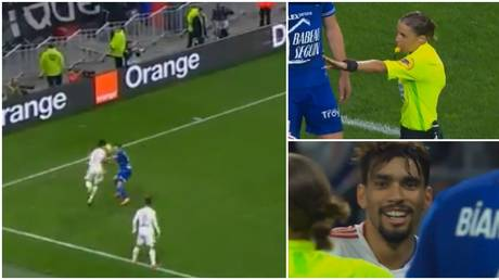 Paqueta was cautioned after a run-in with the referee. © Twitter