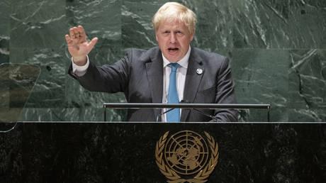 British Prime Minister Boris Johnson addresses the 76th Session of the United Nations General Assembly, Wednesday, Sept. 22, 2021, at U.N. headquarters. © AP Photo / Eduardo Munoz
