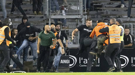 More violence: The Angers-Marseille match was marred by the latest trouble to hit French football. © AP