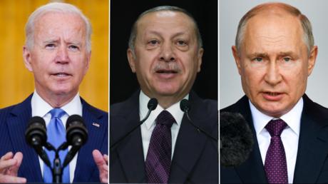 (L) US President Joe Biden. © AP Photo / Evan Vucci; (C) Turkey's President Recep Tayyip Erdogan. © AP Photo / Presidential Press Service; (R) Russian President Vladimir Putin. © AP Photo / Ramil Sitdikov