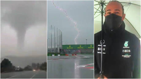 F1 king Lewis Hamilton has made the most of the weather at the Russian Grand Prix © Twitter / Disastervid   © Twitter / MercedesAMGF1   © Twitter / Formula2