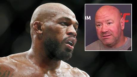 Dana White (inset) has discussed troubled UFC star Jon Jones © Thomas Shea / USA Today Sports via Reuters | © Twitter / BT Sport UFC