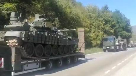 A still from a social media video shows Serbian tanks transported near Kosovo border.