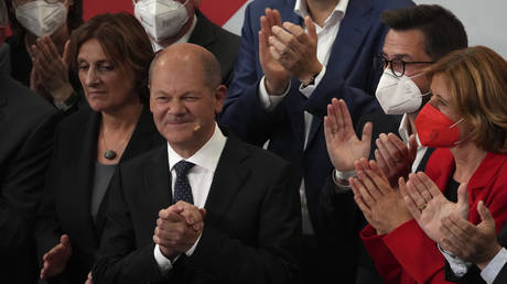 Olaf Scholz, SPD candidate for Chancellor, addressing supporters at the Social Democratic Party headquarters in Berlin