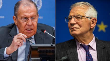 (L) Sergey Lavrov © AP Photo / Mary Altaffer; (R) Josep Borrell © AP Photo / Brittainy Newman