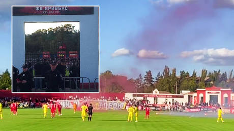 Metalist fans were kept behind a fence for their match at Kryvbas © Instagram / dimasdovgal7091   © Instagram / zoryalondonsk