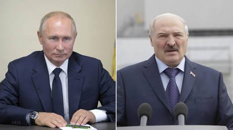 (L) Vladimir Putin © Sputnik/Alexei Druzhinin/Kremlin via REUTERS ATTENTION EDITORS; (R) Alexander Lukashenko © Sergii Kharchenko/NurPhoto via Getty Images