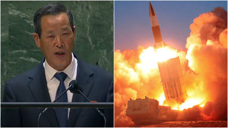 (L) North Korea's UN Ambassador Kim Song speaks before the General Assembly in New York City, September 27, 2021; (R) FILE PHOTO: A missile is fired in an image released by North Korean state media, March 22, 2020.