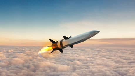 An artist's depiction of the Hypersonic Air-breathing Weapons Concept (HAWC) missile system still under development by DARPA.
