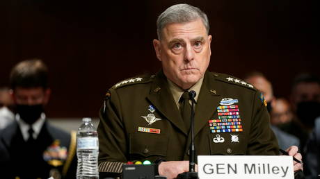 Chairman of the Joint Chiefs of Staff General Mark Milley at a Senate Armed Services Committee hearing on Capitol Hill, September 28, 2021.