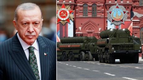 (L) Turkish President Tayyip Erdogan. © Reuters / DADO RUVIC; (R) Russian S-400 Triumph medium-range and long-range surface-to-air missile systems. © Reuters / Sergei Karpukhin