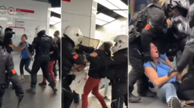 WATCH: French riot cops brutally arrest 2 women... but retreat in face of big crowd of anti-Covid pass protesters in Paris mall