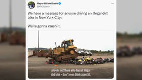 'There are problems you can smash': NYC mayor posts bizarre VIDEO of 'illegal dirt bikes' being crushed as warning
