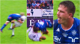 'That's not a tackle, that's attempted murder': Rugby player shown straight red card for shocking tackle in French league (VIDEO)