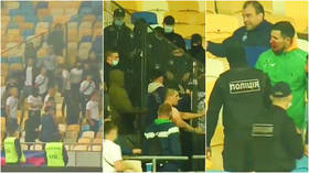 Police launch criminal hooliganism investigation after fans jump fence in stadium in bloody fight over flares during match (VIDEO)