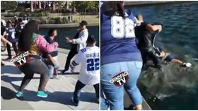 Brawling NFL fans end up in lake as wild punch-ups break out between Cowboys & Chargers fans (VIDEO)
