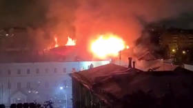 Emergency evacuation as massive fire ravages dormitory of prestigious military school in downtown Moscow (VIDEO)
