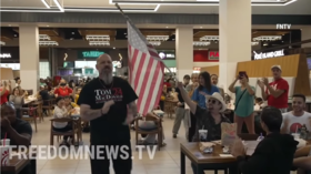 Activists chanting 'USA' & 'f**k Joe Biden' storm vaccinated-only food court in Staten Island, NY in protest against mandates