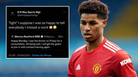 Rash tweet? Social media darling Marcus Rashford appears to be caught allowing a management company to make a Twitter post for him