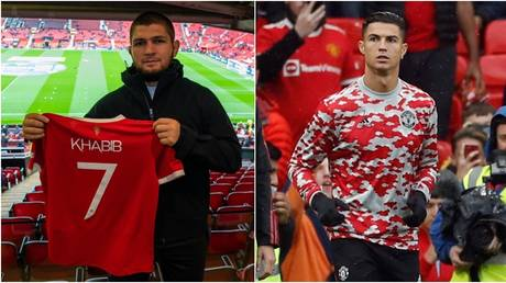 Khabib is at Old Trafford to watch Manchester United but Ronaldo starts on the bench. © Twitter @ManUtd / Reuters