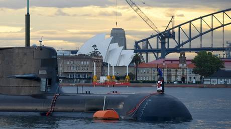 FILE PHOTO of submarine in Sydney Harbour. © Peter Parks / AFP