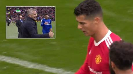 Ronaldo left the Old Trafford pitch in a hurry but Solskjaer was earlier seen smiling. © Twitter