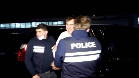 Georgia's former President Mikhail Saakashvili arrives at a prison in Rustavi, Georgia on October 1, 2021.