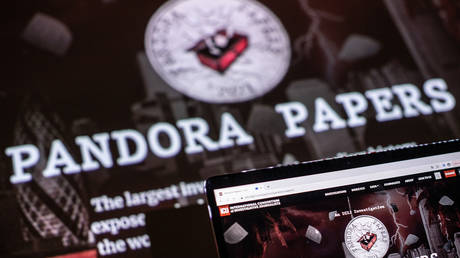 This photograph illustration shows the logo of Pandora Papers, in Lavau-sur-Loire, western France, on October 4, 2021. © LOIC VENANCE / AFP