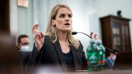 Former Facebook employee Frances Haugen testifies before a Senate subcommittee on Capitol Hill, October 5, 2021.