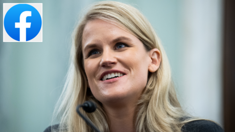 Frances Haugen, a former Facebook employee, testifies during the Senate Commerce, in Russell Building, October 5, 2021. © Getty Images / By Tom Williams; (inset) © Wikipedia