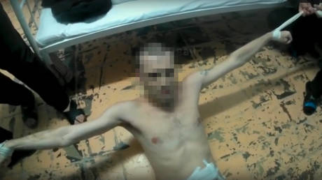 A still taken from one of a series of videos purporting to show torture at the Saratov prison hospital. © Social nets