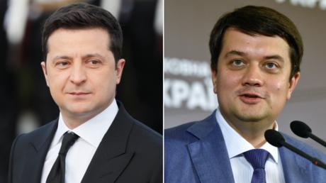"(L) Ukrainian President Volodymyr Zelenskiy. © Reuters / GLEB GARANICH; (R) Dmitry Razumkov, former head of the party ""Servant of the People"". © RIA"