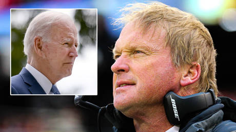 Jon Gruden (right) has resigned from the Las Vegas Raiders after emails that included a slur against Joe Biden © Evelyn Hockstein / Reuters | © Jay Biggerstaff / USA Today Sports via Reuters