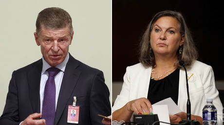 (L) Deputy Chief of Staff of the Presidential Executive Office Dmitry Kozak © REUTERS / Denis Balibouse; (R) US Undersecretary of State for Political Affairs Victoria Nuland © REUTERS / Elizabeth Frantz