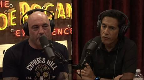 Joe Rogan and Sanjay Gupta during the interview. Screenshots from Yourube / PowerfulJRE