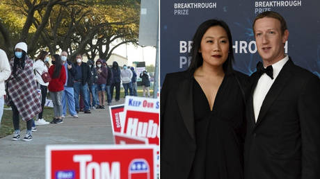 (L) Election in Houston, Texas. © REUTERS / Go Nakamura; (R) Mark Zuckerberg and Priscilla Chan © REUTERS / Kate Munsch