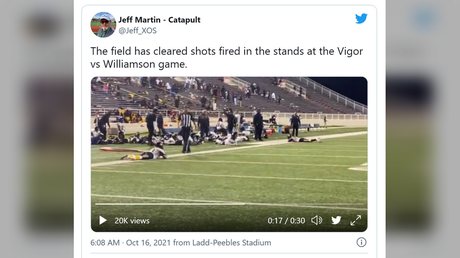 'Multiple people' shot during high school football game in Alabama, causing spectators & players to flee in panic (VIDEOS)