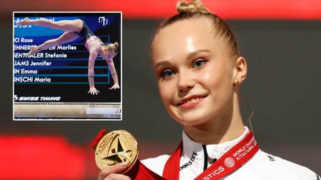 'You are a queen': Gymnastics sensation Angelina Melnikova seizes on Simone Biles & Suni Lee absences to claim world crown (VIDEO)