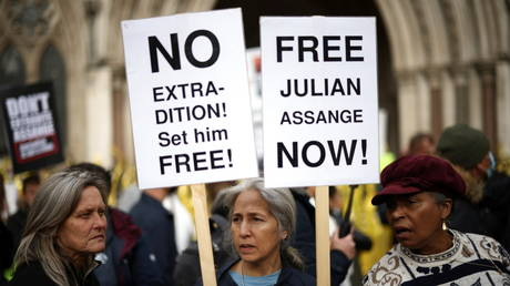 Supporters of Wikileaks founder Julian Assange protest outside the Royal Courts of Justice in London, Britain, October 27, 2021